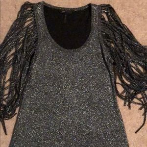 BCBG body con sparkle dress w fringe sleeve